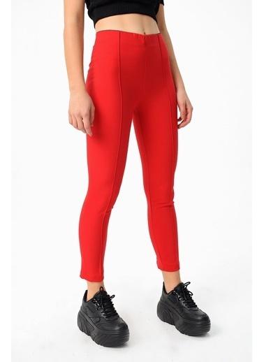 Jument Power Strech Likralı Dar Kesim Yüksek Bel Beli Lastikli Bilek Boy Pantolon-Gri Kırmızı
